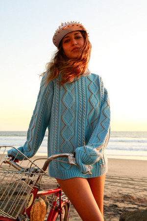 white studded cap hat - sky blue sweater