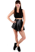 skirt - black creepers shoes - earrings