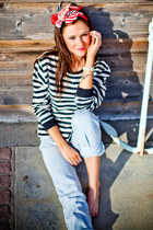 nautical stripe behoneybee shirt - lee vintage jeans - behoneybee bracelet