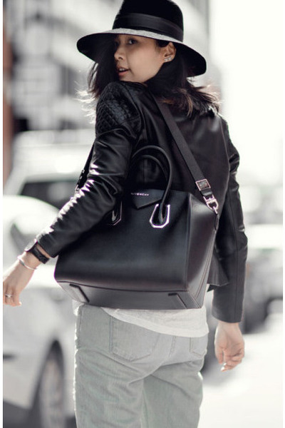 black leather Zaliah jacket - light blue J Brand jeans - white Cos Stores shirt