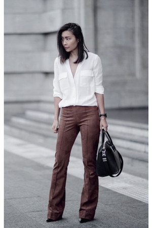white silk Witchery shirt - brown suede Zara pants