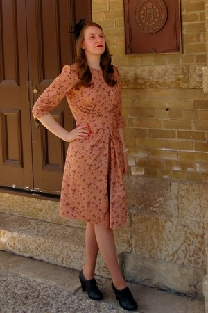 floral handmade dress - Burlington hat - oxfords Walmart pumps