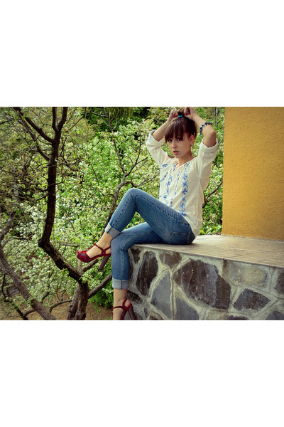white vintage blouse - blue H&M jeans - red Bata shoes - gold Mango bracelet - g