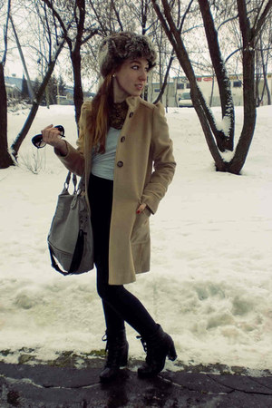 Pimkie boots - worn as skirt Secondhand dress - camel Zara coat - hot H&M hat -