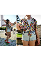 red vintage blouse - blue H&M shorts - white H&M top - red old shoes - brown Gat