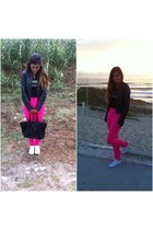 pink hot pink H&M pants - dark gray leather Bershka jacket