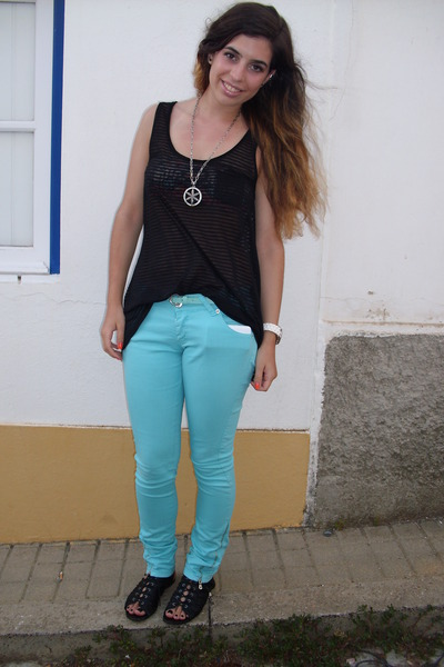 black sheer Zara top - aquamarine blue Ferrache pants