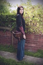 dark brown satchel next bag - navy H&M jeans - navy jacket