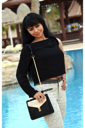 Zara bag - ivory printed Zara pants - black one shoulder Zara blouse