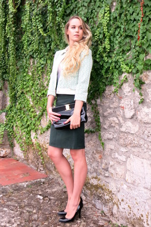 green lace Anthropologie blazer - black patent leather Salvatore Ferragamo purse
