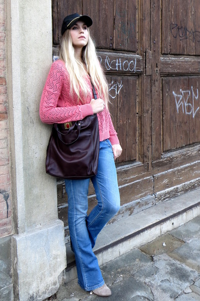 beige suede ankle Diesel boots - blue Fornarina jeans - bubble gum Only sweater