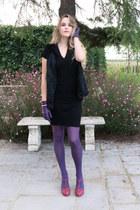 magenta Colcci shoes - black Corin dress - black fur Gérard darel vest