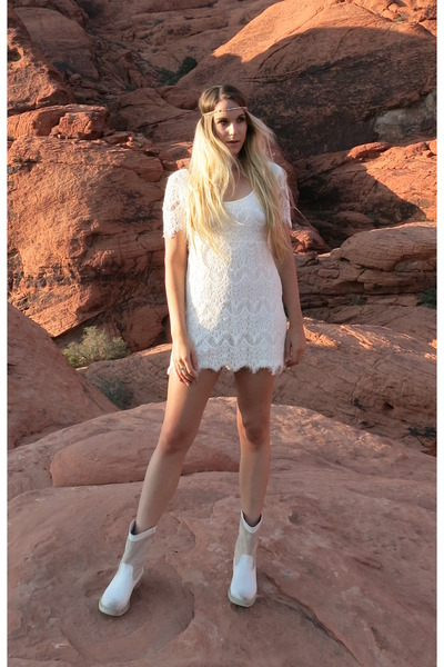 biker boots Pepenè boots - lace dress Urban Outfitters dress