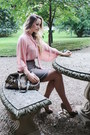 Nude-chiffon-h-m-blouse-tan-forever-21-skirt-beige-steve-madden-heels