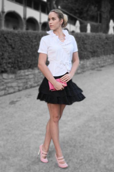 black frilly Stradivarius skirt - light pink mary-janes Harajuku Lovers shoes