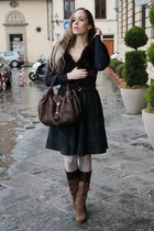 dark brown Jessica Simpson boots - dark brown fur custom made jacket