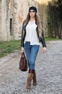 Brown-jessica-simpson-boots-blue-diesel-jeans-black-urban-outfitters-hat