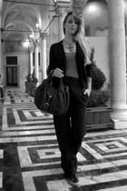black souvenir clubbing pants - dark brown Fendi bag