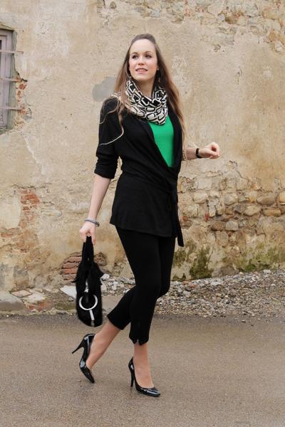 black Guess shoes - white Just Cavalli scarf - black La Perla cardigan