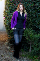 purple Jackpot cardigan - black house of harlow boots - black H&M shirt
