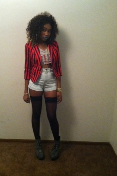 stripe Red blazer - sheer black thigh highs tights - jean Highwaist shorts