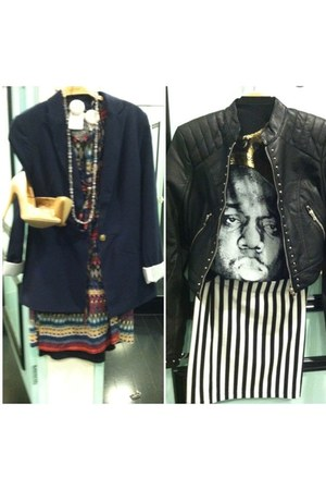 Forever 21 dress - navy Forever 21 blazer - biggie Forever 21 shirt