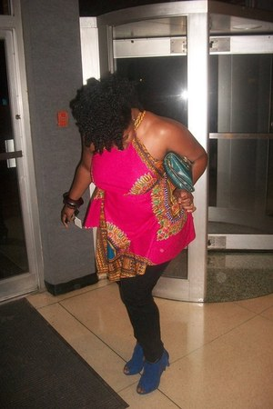 hot pink african print DYI - Bella Duafe top - blue unknown shoes