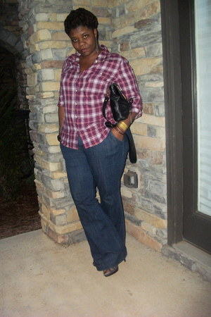 camp shirt Old Navy shirt - trouser jeans Old Navy jeans - Jessica Simpson bag