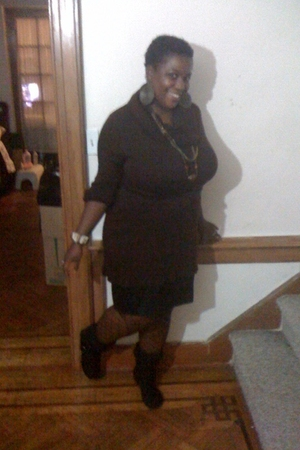Danice sweater - JC Penny skirt - store stockings - African store necklace - rai