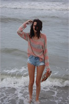 pink striped Target sweater - denim cuttoff american eagle outfitters shorts