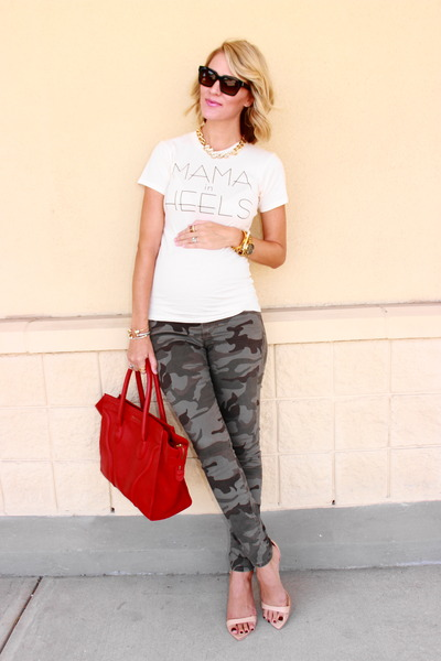 heather gray camo True Religion jeans - red leather Ellen Vicius bag
