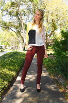 maroon skinny jeans G-Star raw jeans - light yellow OASAP jumper