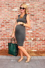 Charcoal-gray-maternity-nom-dress-forest-green-gigi-new-york-bag