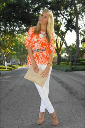 white Kill City jeans - beige thrifted vintage bag - tan lucite Aldo heels - car