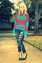 f21 jeans - vintage gitano thrifted vintage sweater - Bamboo heels