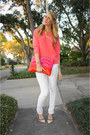 White-kill-city-jeans-salmon-jcrew-sweater-hot-pink-madison-elizabeth-co-bag