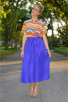deep purple thrifted vintage skirt - hot pink silk rainbow thrifted vintage top