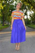 deep purple thrifted vintage skirt - hot pink silk rainbow thrifted vintage top