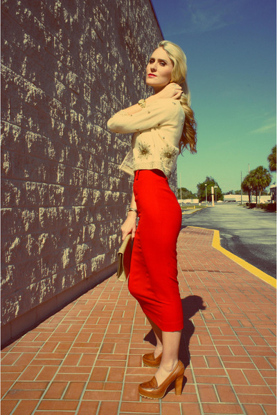 red vintage skirt - eggshell beaded-cropped vintage cardigan
