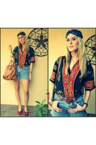 vintage chloe shirt - Levis shorts - vintage salvatore ferragamo shoes - DIY vin