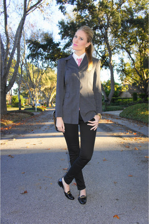 gray Vintage Halston blazer - black James Jeans jeans - white Target shirt