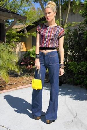 blue bell-bottoms J Brand jeans - yellow volcom bag - Cherry Bloom Vintage top -