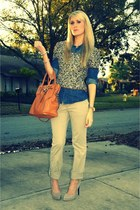 f21 shirt - Michael Kors bag - london jean pants - polka dots Jessica Simpson he