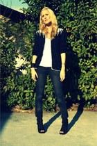 black vintage cardigan - white aa t-shirt - black Mia heels - gray Target jeans