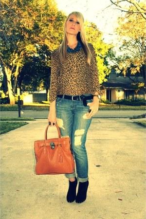Dolce Vita boots - f21 jeans - Michael Kors bag - silk leopard Ralph Lauren blou