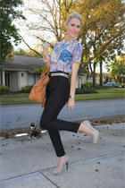tawny Michael Kors bag - Jessica Simpson heels - black Zara pants - vintage chri