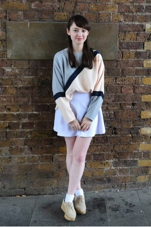 light purple Topshop sweater - camel new look shoes
