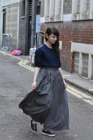 black Topshop flats - navy Monki sweater - navy Twist  Turn pants
