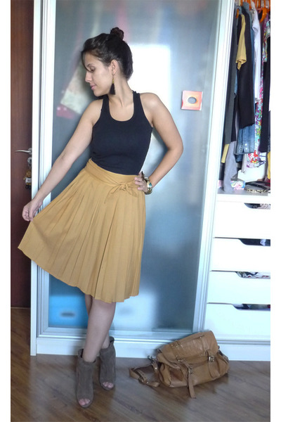 leather Topshop bag - suede Zara wedges