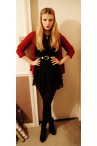 ruby red Zara cardigan - black chiffon shirt yumi dress - silver vintage belt